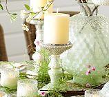 Milk Glass Pillar Candle Holders / Pottery Barn