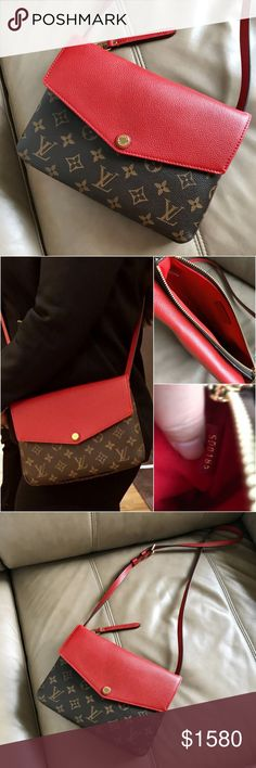 Louis Vuitton Monogram Twice bag canvas & leather Rare, limited and had just discontinued, eye catching Louis Vuitton monogram Twice Pochette Cerise Cherry canvas with red leather combination crossbody bag, Like new as pictured! A hidden compartment in the middle can put a phone in for easy access! Louis Vuitton Bags Crossbody Bags