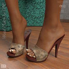 Wood Mules for figure assets footwear High Heel Mule Shoes, Open Toe High Heels, Sexy High Heels, Mules Shoes, Heeled Mules, Beautiful High Heels, Gorgeous Feet, Dr Scholls Sandals, Sexy Toes