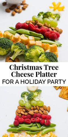 This Christmas Tree Platter is a simple and healthy appetizer for a holiday party. Use fruits, veggies, cheeses, and nuts for maximum flavor! || The Butter Half #appetizers #cheeseplatter #cheeseboard #healthyappetizer #thebutterhalf
