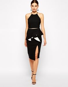 Black Black&White Colorblock Ruffle Bardot Peplum Hem Skirt With Asymmetric Hem Slit @ ASOS $80 LOVE