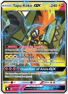 Tapu Koko GX by Waterbeacon All Pokemon Cards, Pokemon Cards Legendary, Pokemon Trading Card, Pokemon Fusion, Pokemon Fan, Carte Pokemon Rare, Deviantart Pokemon, Video Game Memes, Sailor Venus