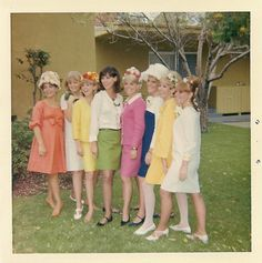 1967, 60s found photo print ladies in dresses and skirts red pink yellow white green blue