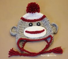 Very easy, very cute. All sizes free pattern-Repeat Crafter Me: Crochet Sock Monkey Hat Pattern
