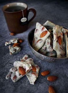 Amazing Almond White Chocolate Bark recipe. Yum.