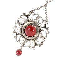 Arts and Crafts Garnet Pendant Necklace