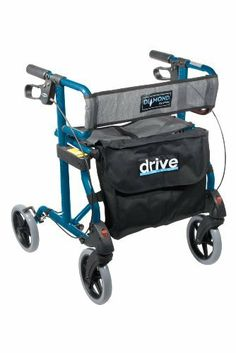 """Drive Medical Diamond Aluminum Rollator Walker with Comfortable Mesh Seat and Back, Blue by Drive Medical. $130.26. Tool free removable front and rear wheels. Durable mesh back rest. Comes with removable carry pouch. Large 8"""" casters are used for indoor & outdoor use. Comfortable mesh seat. Handles are height adjustable. Soft, comfortable grips. Easy to use loop locks. Limited Lifetime Warranty."""