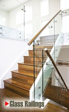 glass railing with mahogany handrail fabricated with stainless steel glass bolts, ideal for a wide range of internal and external structures and staircases. Staircase Handrail, Wooden Staircases, Stairways, Handrail Ideas, Indoor Railing, Patio Railing, Steel Railing, Glass Stairs Design, Staircase Design