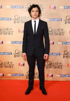 Toby Sebastian wearing Dolce&Gabbana to attend the World premiere of Game of Thrones Season 5 in London on March 18, 2015.