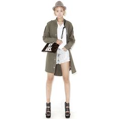 For a fashionable cold-weather uniform, wear this long jacket. It has a band collar, epaulettes, front snap button-down closure, long-sleeves relaxed fit, and thigh-length hem. Wear this over a printed dress and boots ensemble.