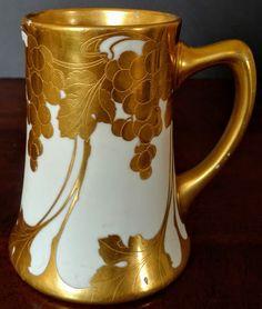 JEAN POUYAT Limoge, France Porcelain Hand Gilded Unique Rare Early Mug 1899