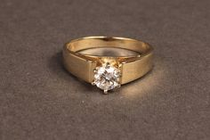 wide gold bands with solitaire mounting | Lot 101A: One-half Carat Diamond solitaire ring, 14K gold - Image 3