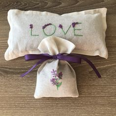 Hand Embroidered Lavender Sachet and Eye Pillow Set Lavender Pillow, Lavender Sachets, Lavender Seeds, Pillow Set, Embroidery Stitches, Reusable Tote Bags, Eye, Handmade Gifts, Fabric
