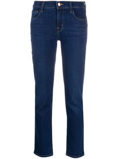 Dark blue cotton blend slim-fit jeans from J Brand featuring a mid rise, a five pocket design, a concealed front fastening and a waistband with belt loops. Fashion Branding, J Brand, World Of Fashion, Luxury Branding, Polyester Spandex, Bell Bottom Jeans, Your Style, Slim, Dark Blue