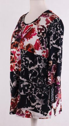 Chalou kurzarm Shirt mit U-Ausschnitt Schwarz Flieder – Bild 2