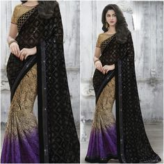 Black and Purple saree with Designer Blouse Product Number:NRNS-MDR8814