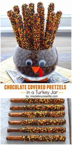 Covered Pretzels Chocolate covered pretzels make fun tail feathers in this easy to make turkey jar.Chocolate covered pretzels make fun tail feathers in this easy to make turkey jar. Holiday Desserts, Holiday Baking, Holiday Treats, Holiday Fun, Party Desserts, Holiday Foods, Christmas Baking, Healthy Desserts, Holiday Recipes