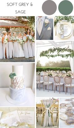 Ideas for a Soft Grey & Sage Wedding Theme – Confetti Sweethearts wedding colors Ideas for a Soft Grey & Sage Wedding Theme Grey Wedding Theme, Gray Wedding Colors, Sage Green Wedding, Wedding Color Schemes, Wedding Themes, Rustic Wedding, Wedding Decorations, Green Theme Weddings, Wedding Ideas Green
