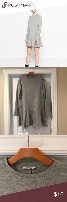 Zara gray dress w/ ruffle hem. NWOT Zara gray dress w/ ruffle hem.  In perfect condition.  Never been worn! Zara Dresses