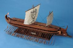 Trireme model: the kind of warships that was used at the Battle of Salamis, 480BC,on both sides.