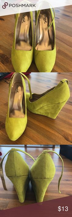 Green wedges worn once Quifid lime green wedges qufid Shoes Platforms