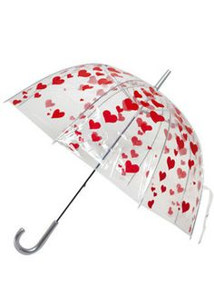 I Heart Umbrellas - Swathed with cherry red hearts over a transparent plastic background, each dome is fit to superimpose 'sweet, sweet, lovin' over the dreariest of drizzles.   #ModCloth