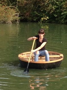 Test driving one of Kevin's coracles on the mill pond at the Weald & Downland Museum