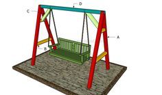 This step by step woodworking project is about how to build an a-frame swing. Building a simple garden swing is easy and it will entertain you for many hours in a row. A Frame Swing Set, Porch Swing Frame, Diy Swing, Bench Swing, Wood Swing, Pergola Swing, Diy Pergola, Pergola Kits, Pergola Plans