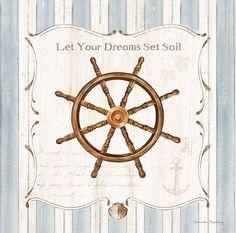 Ship Wheel by Danielle Murray for Art in Motion  Nautical Home Decor Art Print