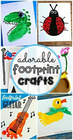 Cute footprint artwork ideas!!! Bebe'!!! Love these ideas!!! Infant Activities, Craft Activities For Kids, Craft Ideas, Fun Ideas, Crafts For Kids To Make, Art For Kids, Paint Night For Kids, Crafts For Babies, Toddler Fun