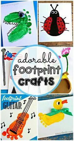 Cute footprint artwork ideas!!! Bebe'!!! Love these ideas!!!