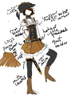 Steampunk Fashion notes from IO9....    Steampunk Fashion Design, by Miss Adela Daniels, Gaia Online