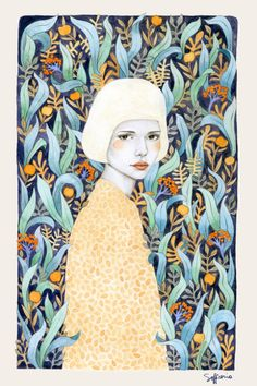 Born in Buenos Aires, Argentina, Sofia Bonati is a self-taught illustrator currently living in UK. She creates delicate female portraits combined with textures and patterns. There's always something imaginative and mysterious in her works, and when you look at them the first thing that caughts your attention is the deep and thoughtful look of the women.