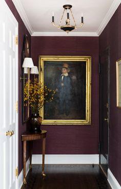 LDV Exclusive: Modern Meets Traditional on Park Avenue Dark Interiors, Colorful Interiors, Home Design, Home Interior Design, Blog Design, Design Art, Purple Interior, Foyer Decorating, Interior Exterior