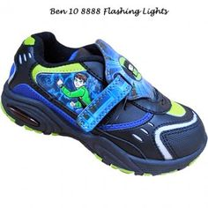 Ben 10 Trainers With Lights. Boys will love these Ben 10 trainers with lights a fantastic way for them to show off their hero. Hard grip non slip soles with single velcro fastening. Padded lining and sock for extra soft comfort. Picture of Ben 10 on the side with small logo on the front. Lights flash on impact. Available in sizes 7, 8, 9, 10, 11, 12, 13, 1, 2.