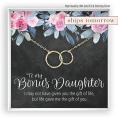 Silver Daughter of My Heart Necklace /• Step Daughter Gift /• Circle Necklace /• Daughter of Boyfriend /• Daughter Gift Card /• Two Connecting Circles