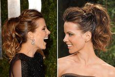 Nos encanta el pelo de: Kate Beckinsale  Kate ama atarse el pelo en una colita alta, pero siempre con mucho movimiento. ¿Cómo se hace? ¡Queremos un paso a paso de este peinado!.  /Glamour y Allure