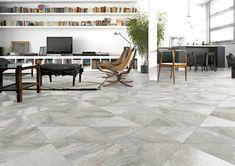 Serie de pavimento Greystone en formato 59,3X59,3 cm., fabricada de porcelánico con acabado de piedra.