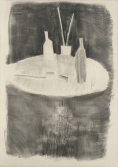 Nicolas de Staël, Table à palette, 1954 Fusain sur papier 145 × 104 cm