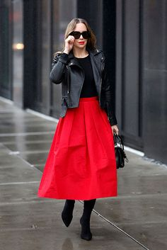 Black leather jacket, a black bodysuit, a red midi skirt, black pointed boots, black sunglasses and a black bag. holiday outfit, holiday look, christmas outfit, new years eve outfit, fashion 2018, party outfit, #holidaystyle #partystyle #holidayoutfit #fbloggerstyle #bloggerstyle #fashionpost #holidays