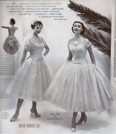 It's tulle time! Image of pouffy 1955 bridal fashions.