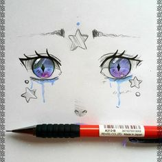 """☆larienne.deviantart.com Eyes doodle from today~ #copic #copicart #fantasy #tears #emotional #watercolors #eyetales"""