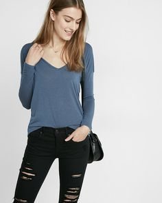 express one eleven open back deep v tee