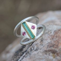 Blue Green Rough Tourmaline Silver Gold Ring Pink Tourmaline Silver 22k Yellow Teal Geometric Native Tribal Mexico - Southwest Bend by NangijalaJewelry on Etsy https://www.etsy.com/listing/236555271/blue-green-rough-tourmaline-silver-gold