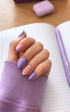 Acrylic Nails Coffin Short, Simple Acrylic Nails, Best Acrylic Nails, Acrylic Nail Designs, Colored Acrylic Nails, Purple Nail Designs, Nail Polish Designs, Gel Polish, Edgy Nails
