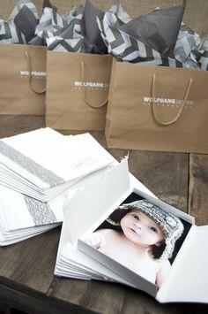 Artisan White Portrait Cases, Natural Eurototes, Gray Mesh Ribbon, Gray on White Chevron and Slate tissue, Gray and White logo imprinting - photo packaging - Rice Studio Supply