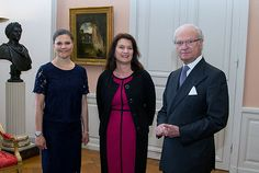 Royals & Fashion - King Carl Gustaf and Princess Victoria attended several hearings with ministers and a board at the Royal Palace in Stockholm.