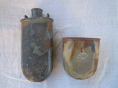 Antique Austro-Hungarian military flasks. A set of flask and