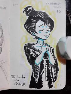 Alvaro Matteucci - Woman in black. #womaninblack #ghost #haunting #scary #illustration #sketch #moleskine #art