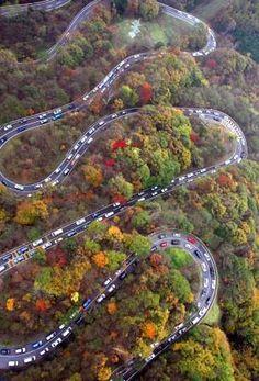 Iroha-zaka Nikko Japan . . . wow!  beautiful scenery but also look at the numbers of vehicles . . .